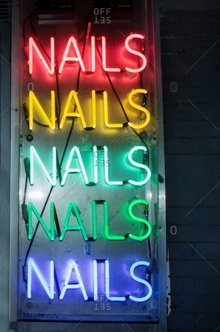 Neon lights nails sign