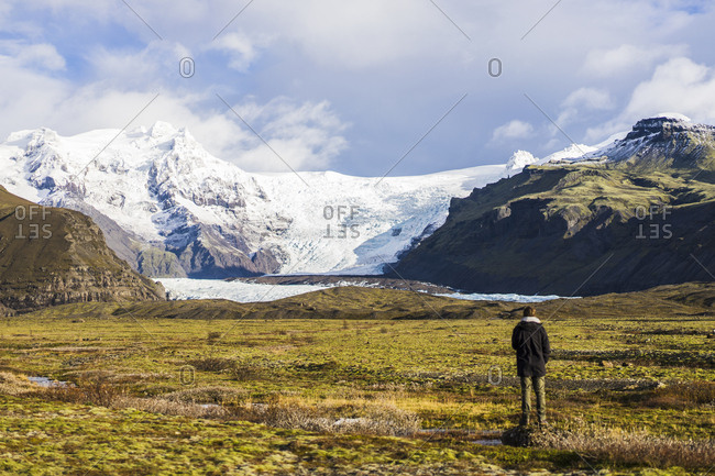 Traveling around countryside with glacier, Skaftafell, Iceland, Europe