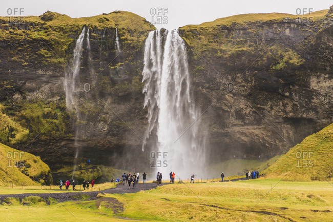 Iceland - October 30, 2016: Seljalandsfoss waterfall in the south region, Iceland