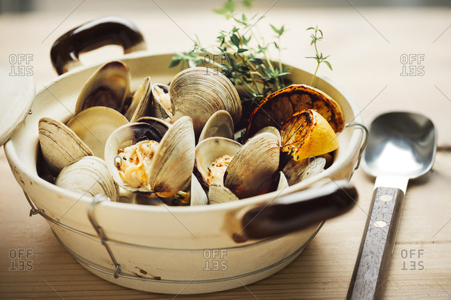 Clams with lemon and thyme in a dish