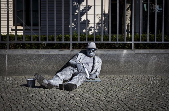 Berlin, Germany - September 14, 2013: A street performer