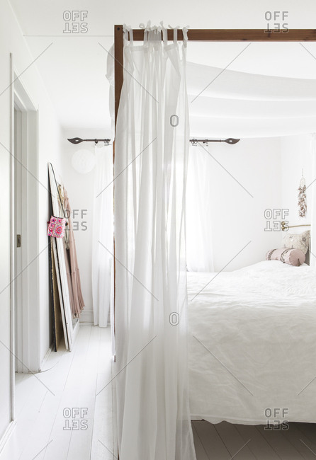 Interior of a master bedroom in a home in Stockholm