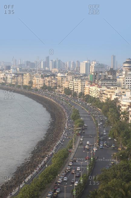 Mumbai, India - October 2, 2013: Queen's necklace roadway, Marine drive, Mumbai, India