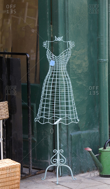 Dress maker's model for sale in second hand store, Henley-on-Thames, England