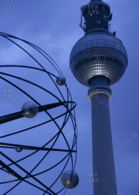 Berlin TV tower at night in Germany