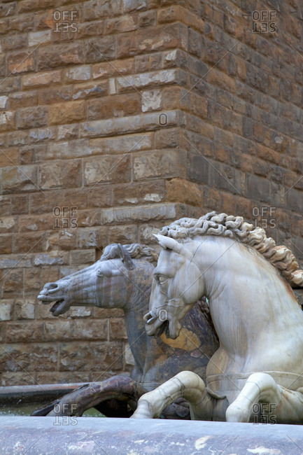 Horses in a fountain in the town square, Florence, Italy