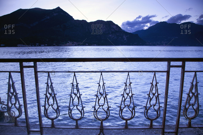 Hand Rail  and steps to water, Lake Como, Italy