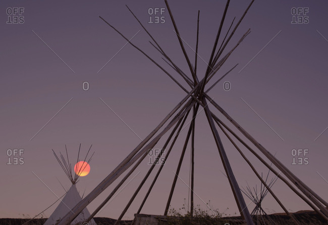 Sunrise over the first nation's teepees, Montana