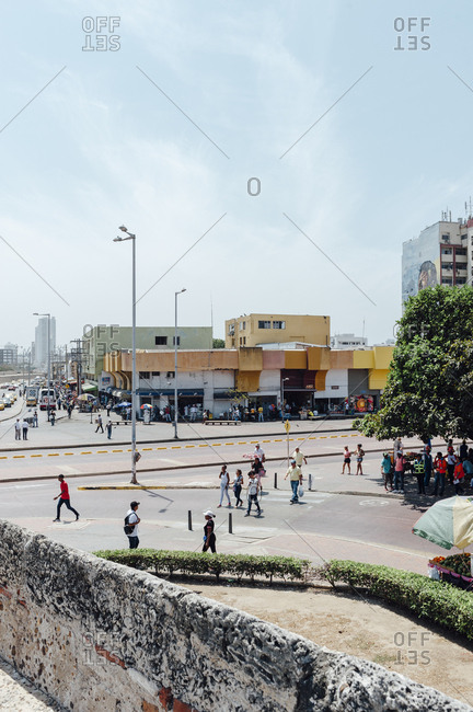 Cartagena, Colombia - March 3, 2017: People walking in the walled city