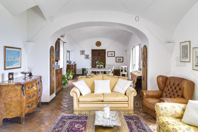 6/29/2014, Amalfi, Italy: Spacious living room with decadent furniture and artwork