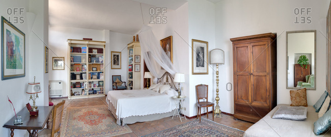 6/29/2014, Amalfi, Italy: Spacious bed room with decadent furniture and artwork