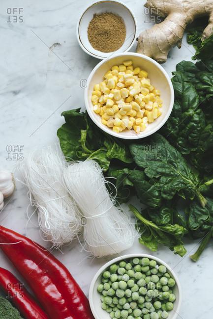 Ingredients for stir fry noodles