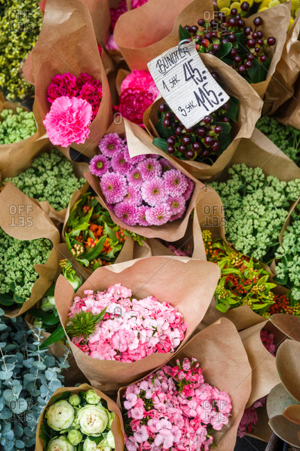 Bouquets for sale at flower market