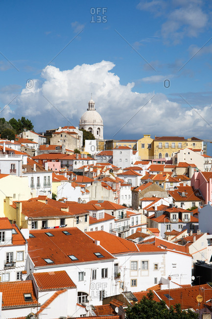 Terra cotta rooftops of buildings in Graca neighborhood of Lisbon, Portugal