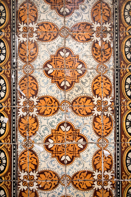 Ornate painted tiles in Portugal