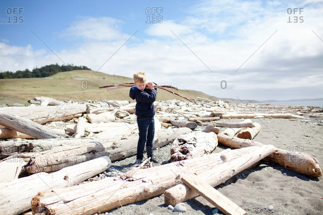 Young boy collecting sticks on a beach
