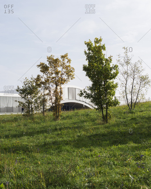 A modern building seen from field