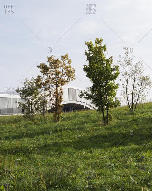 A modern building seen from field
