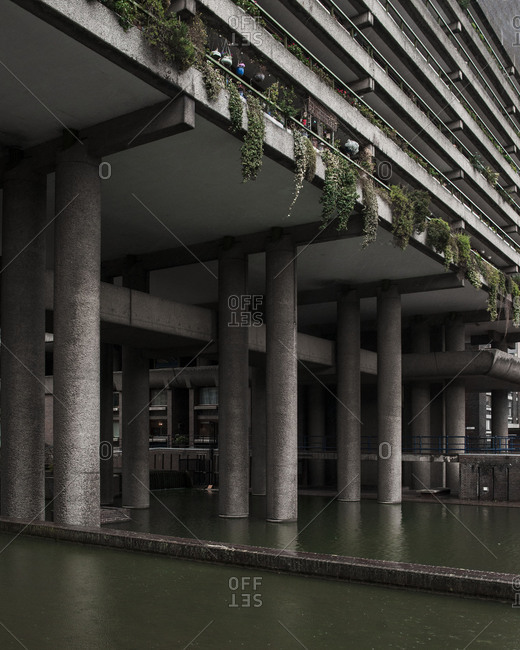 Pillars supporting concrete building