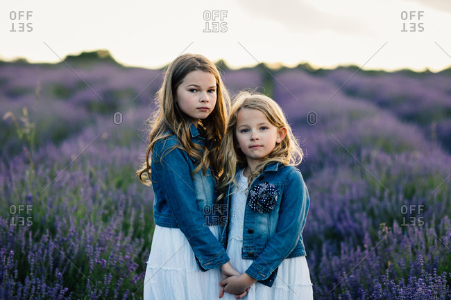 Sisters holding hands and standing in a field of purple lavender flowers