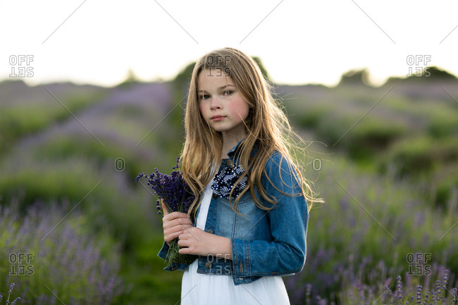 Portrait of a girl holding a bunch of freshly picked lavender flowers standing in field