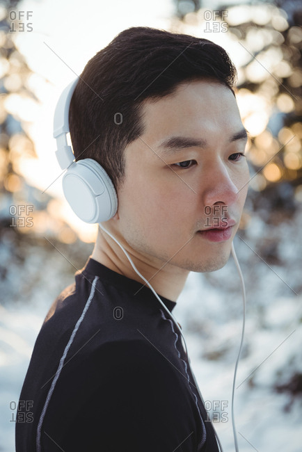 Man listening to music in headphones