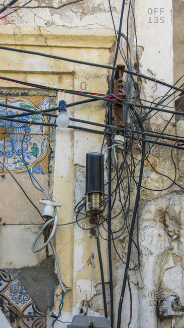 Electricity cables in the Medina