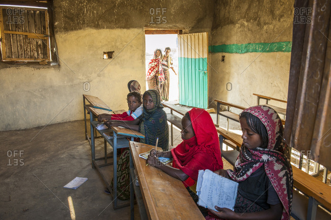 Tigray, Ethiopia - December 6, 2010: Children in a classroom, part of daily life at Malabiday