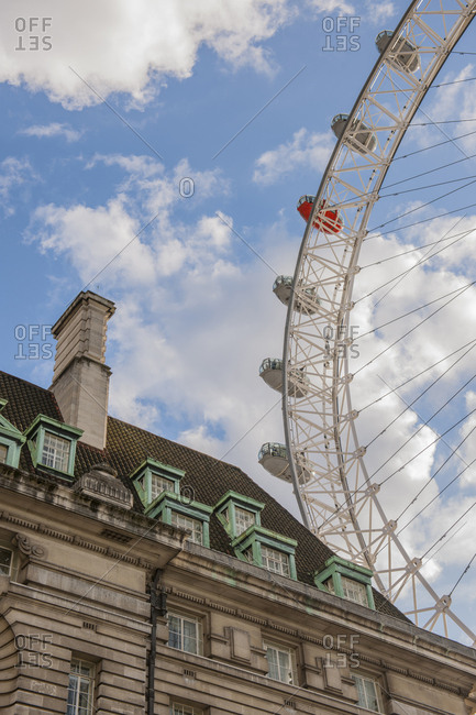 London, England - March 4, 2017: Graphical view of architecture and the London Eye
