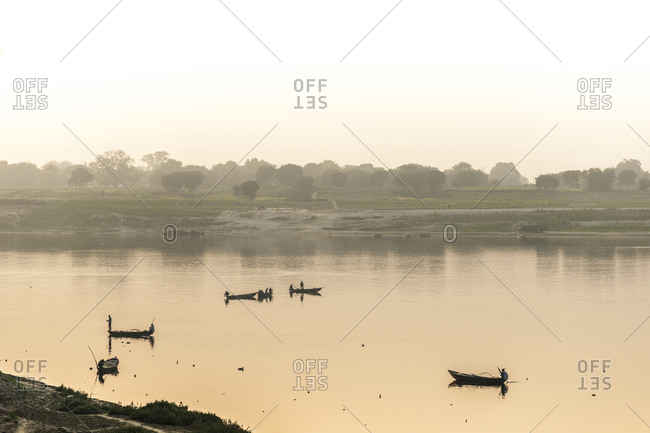 India, Uttar Pradesh (United Provinces), Chunar . Gange River at Chunar