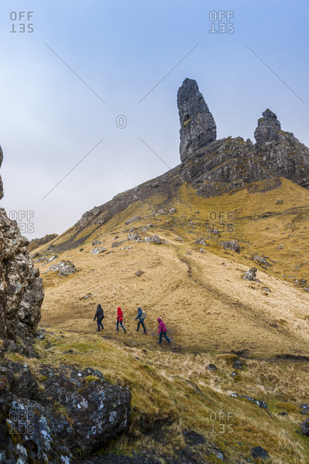 United Kingdom, Scotland, Skye Island . landscape around Old Man of Storr, monolithic rock near Portree