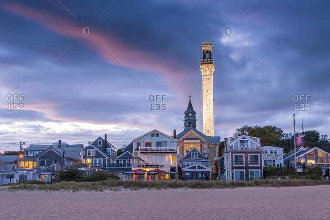 Provincetown, Massachusetts - September 17, 2013: View of the seaside and Pilgrim Tower