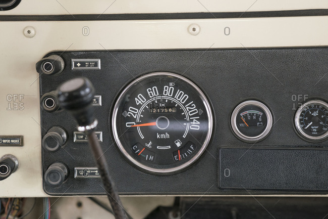 Speedometer and gauges in a vintage truck
