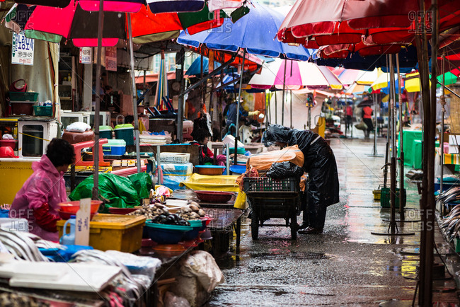 Busan, Korea - May 24, 2016: Jagalchi fish market at Rainy day, Busan