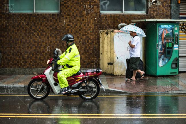 Busan, Korea - May 24, 2016: Rainy street in Busan, South Korea