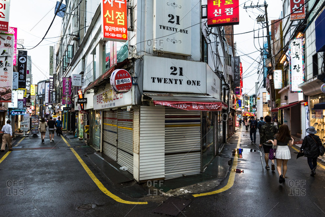 Busan, Korea - May 24, 2016: Shopping street in Busan
