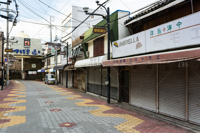 Osaka, Japan - September 10, 2016: Old shopping street with nobody, Japan