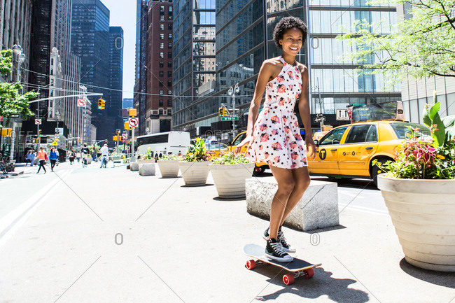 Woman skateboarding