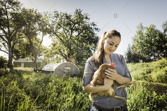 Woman holding chicken on farmland smiling