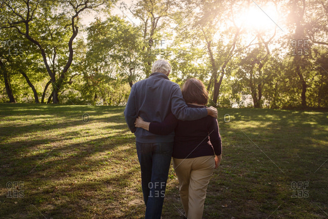 Rear view of romantic senior couple strolling in sunlit park