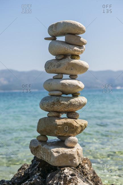 Croatia, Korcula island, Lumbarda . Lumbarda, land art on the beach