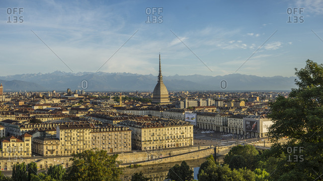 Italy, Piedmont, Turin - July 26, 2015: View of the town and Mole Antonelliana from Santa Maria dei Cappuccini church lookout