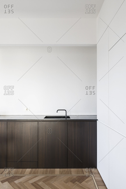 Dark wood counter area in kitchen