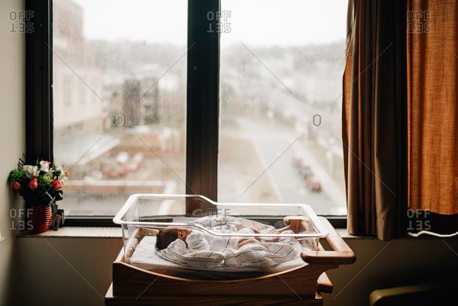 Baby in hospital bassinet by window
