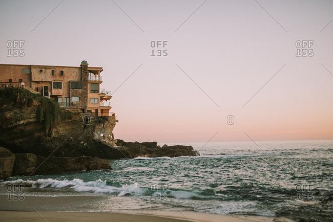 Beachfront home on cliffs at Laguna Beach, California