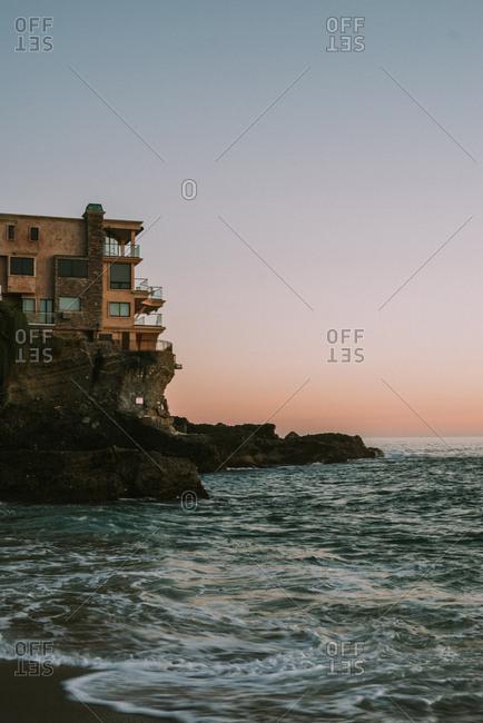Coastal home at sunset, Laguna Beach, California