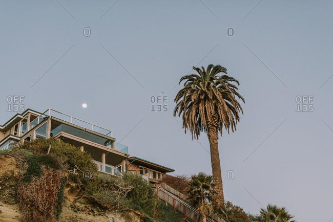 Looking up at Laguna Beach home, California