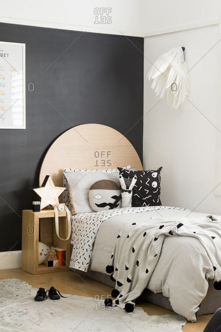 Whimsical black and white bedroom accessories stock photo ...