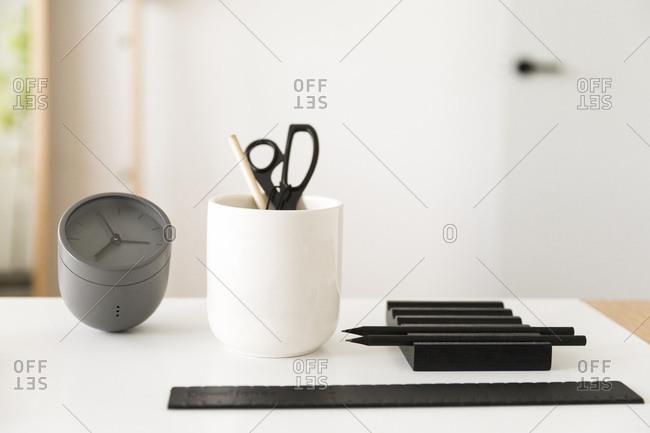 Modern desk accessories on desk