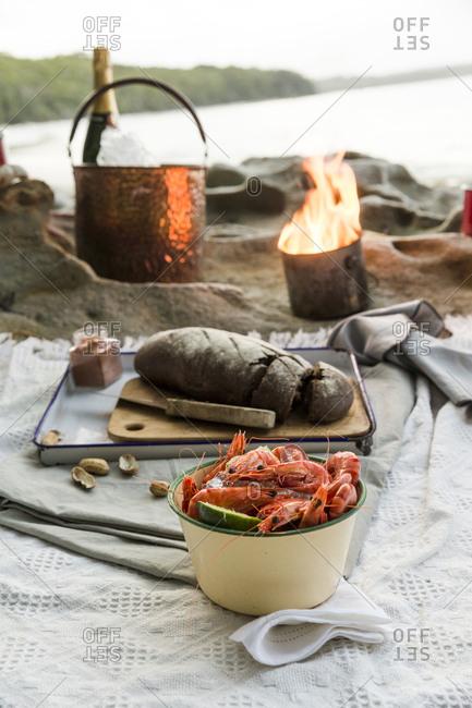 Pot of shrimp and loaf of bread on picnic blanket